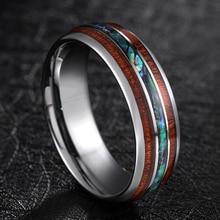 все цены на TIGRADE 8mm Tungsten Carbide Rings Hawaiian Koa Wood and Abalone Shell Wedding Bands for Men Comfort Fit Size 6-13 Brand bague онлайн