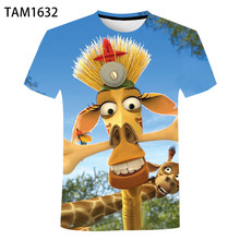 Madagascar anime 2021 Summer 3 Printed Couple With Cotton Comfortable Multifunctional T-Shirt Short Sleeve Cool Street Top For