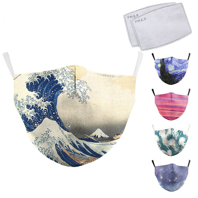 Classic Oil Draw Printing Mouth Mask Reusable Protective PM2.5 Filter Paper Mask Anti Dust Face Mask Bacteria Proof Mask