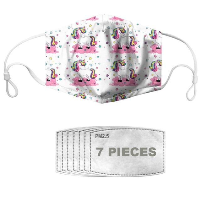 NOISYDESIGNS Mask Mouth Adult Cute Clouds Print With 7pcs Filters Kpop Mascara Kawai Kids Muffle Reusable Half Face Masque 1