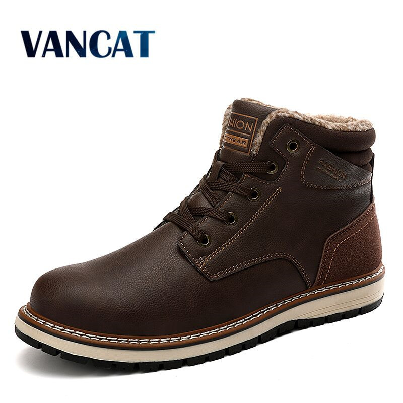 Vancat New Fashion Winter Men's Boots Warm Plush Snow Boots Waterproof Leather Ankle Boots Outdoor Work Boots Men Western Boots