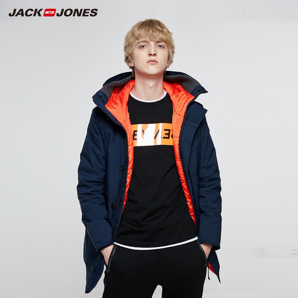 JackJones Men's Winter Hooded Parka Coat Long Jacket Luxury Overcoat 2019 New Menswear 218309511