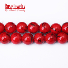 Natural Stone Beads Red Shell Turquoises Stone Beads For Jewelry Making 4/6/8/10/12 mm Diy Bracelet Necklace Accessories