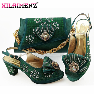 Image 1 - Fashion Autumn Square Heels 7.5 CM Shoes And Bag Set 2019 New Style Shoes With Bag Set Usage Party Dress Large Size 38 43