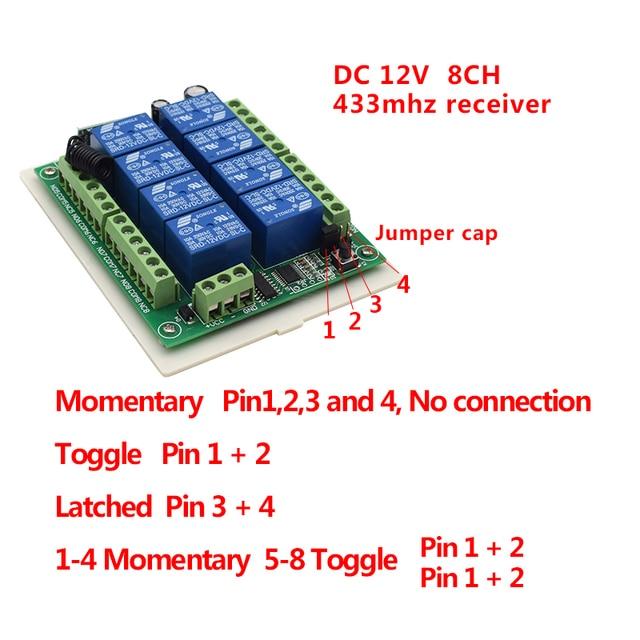 최고의 12V DC 8CH 433MHz 순간 토글 래치 학습 무선 원격 컨트롤러 라이트 전원 스위치