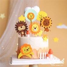 Decoration Cake Topper Mushroom Baking-Supplies Shower-Happy-Birthday-Party Felt-Lion