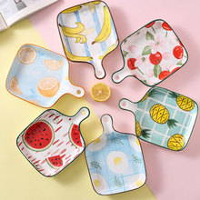 Ceramic Tableware Plate Fruit Pattern Square Single Handle Baking Pan Creative Fruit Plate Household Kitchen Supplies kitchen nordic plate kitchen accessorie creative oven plate baking plate household ceramic plate deep flat plate tableware