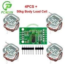 HX711 AD Module corps capteur de pesage capteur de pression capteur de pression + 4 pièces 50kg échelle humaine capteurs de poids de cellule de charge + outils de mesure
