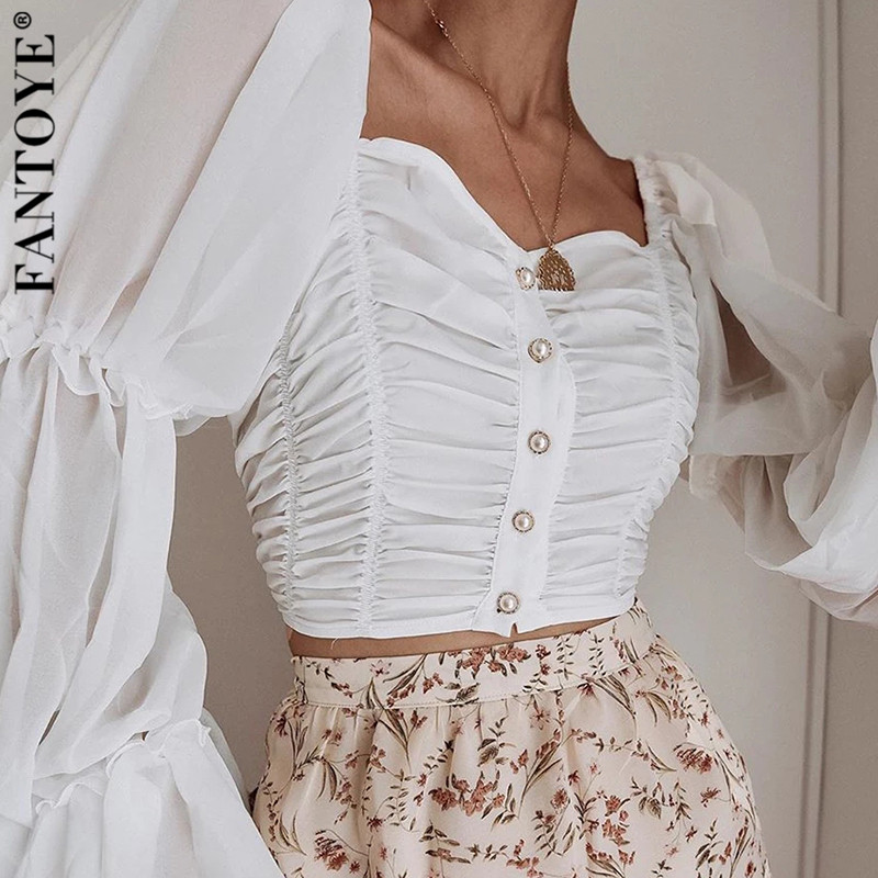 Fantoye Off Shoulder Ruched Sexy Chiffon T Shirt Women Puff Sleeve Strapless Crop Top Women Tshirt Buttons Casual Summer Tops