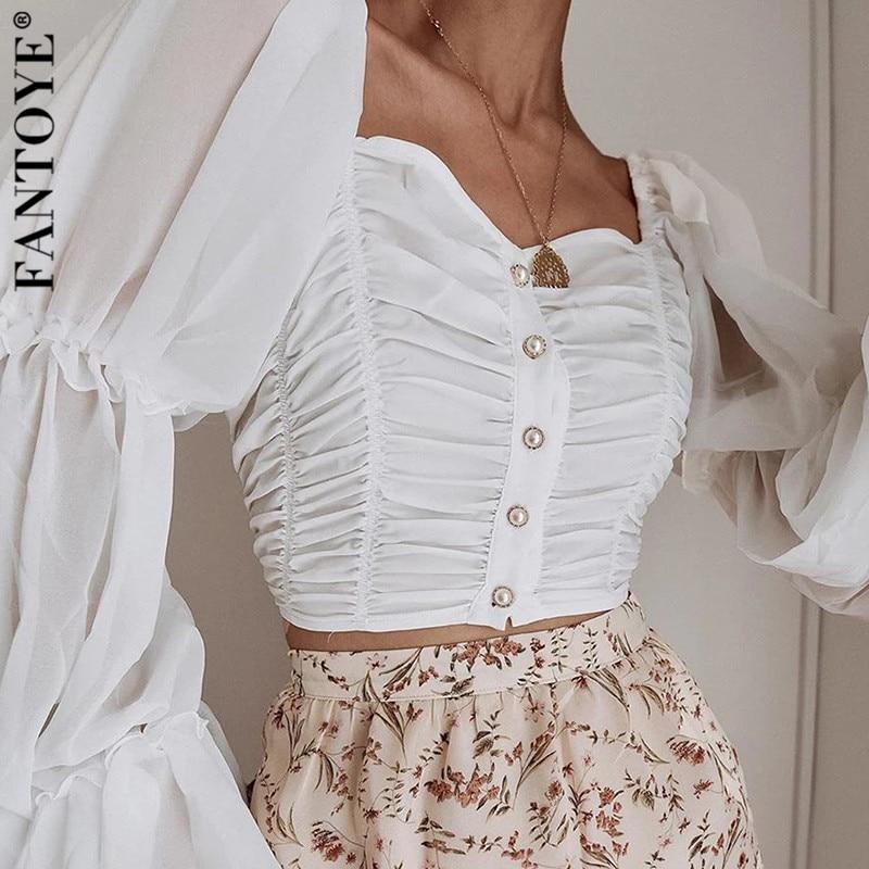 Fantoye Off Shoulder Ruched Sexy Chiffon T Shirt Women Puff Sleeve Strapless Crop Top Women Tshirt Buttons Casual Summer Tops