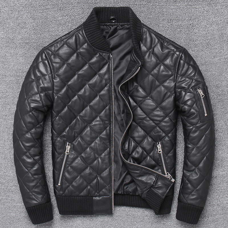 2020 Style Winter Warm Cotton Genuine Leather Jacket Classic Plaid 100% Sheepskin Coat Man Fashion Slim Clothes