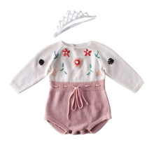 Baby Girl Winter Jumpsuit Newborn Romper Knitted Clothes Pure Hand-made Embroidered Conjoined Girls Clothing