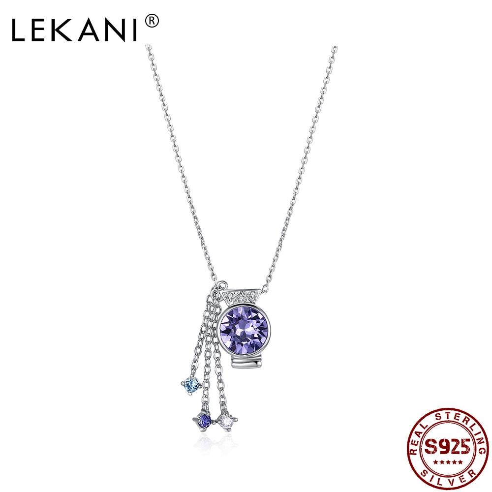 LEKANI 925 пробы серебро кулон ожерелья Водолей талисманы с австрийским кристаллом, зодиака класса люкс Fastival вечерние подарки, хорошее ювелирное изделие