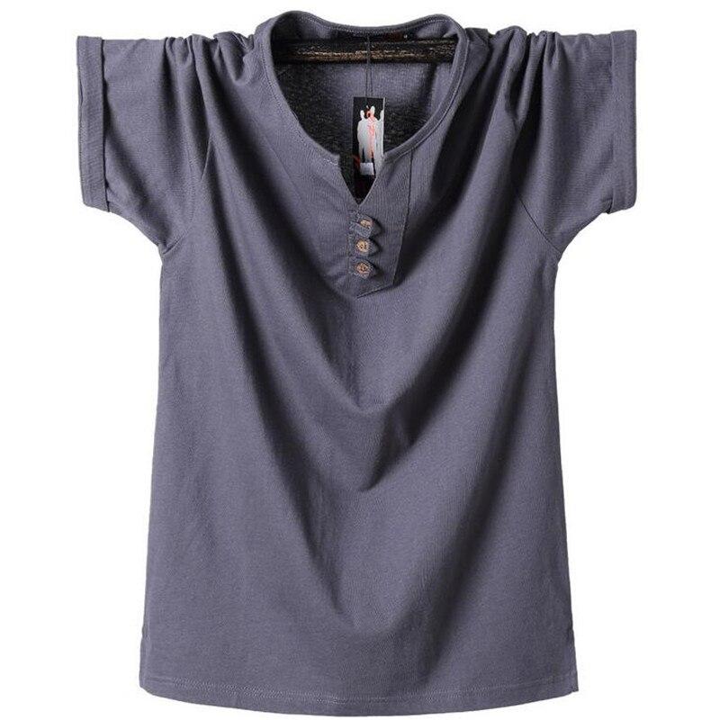 Hauts pur coton hommes t-shirt été grande taille 3XL 4XL 5XL 6XL 7XL 8XL col en v mode couleur unie t-shirt homme vêtements