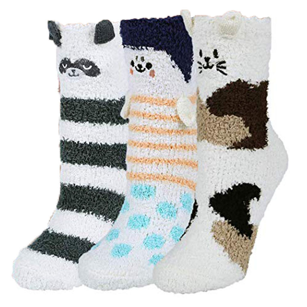 3 Pairs warm socks women Fuzzy Socks Warm Soft Slipper Home Sleeping Cute Animal Socks chaussettes femmes женские носочки#A25|Socks| - AliExpress