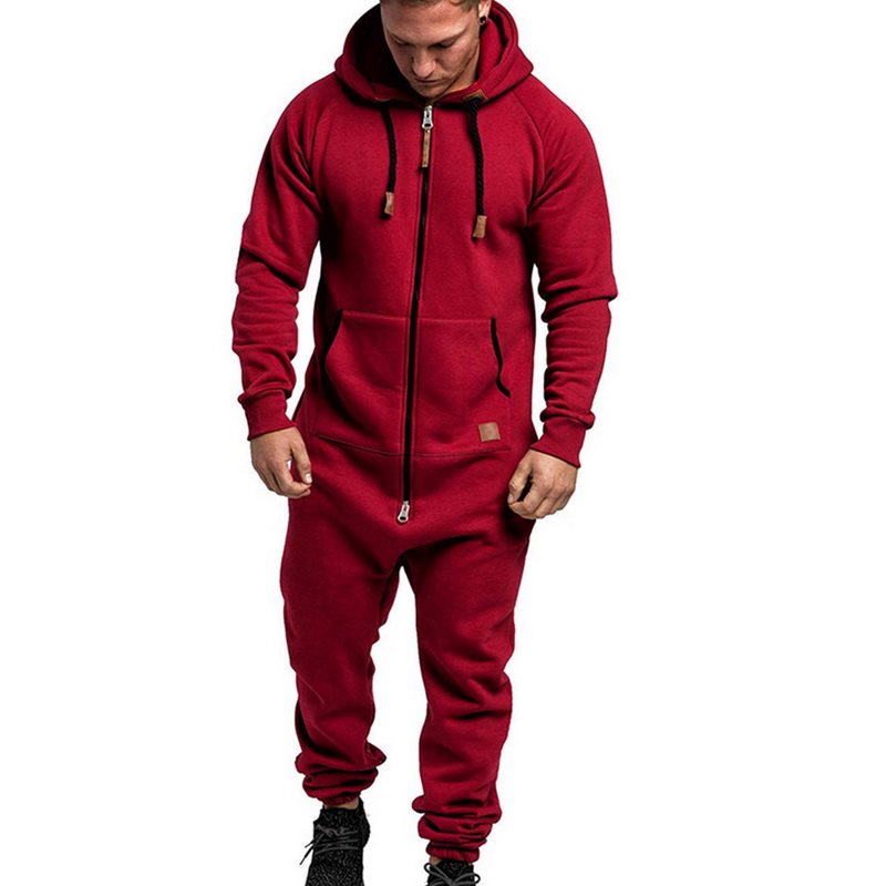 2020 Men One Piece Overalls Set Solid Autumn Winter Fleece Zipper Jumpsuit Sets Fashion Streetwear Men Pajama Playsuit Hoodie