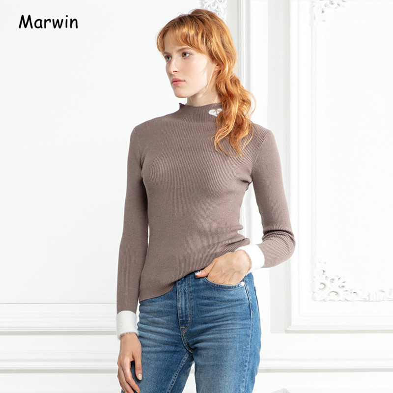 Marwin 2019 New-Coming Autumn Winter Patchwork High Street Style Turtleneck Women Pullovers High Quality Female Sweaters