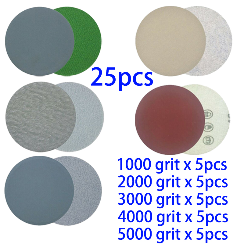 25pcs Sandpapers 3 Inch Disk Sander For Dry And Wet Grinding Polishing Cleaning Tools 1000 2000 3000 4000 5000 Grit
