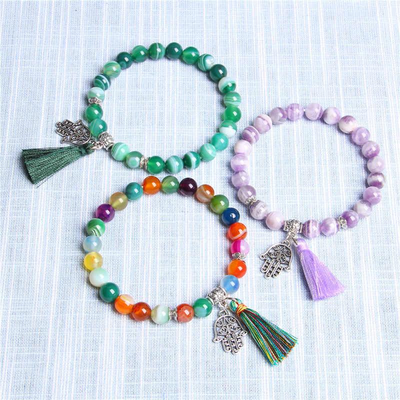 Charme Pulseiras Pulseiras de Pedra Natural Mulheres Mão de Fatima Hamsa Mão Charm Bracelet for Girls Jóias Borla Pulseira Femme
