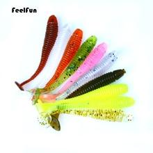 FeelFun 20PCS/lot T tail Soft Fishing Lure Wobblers 45mm 0.7g Swimbaits Artificial Silicone Jig Bait Carp Baits