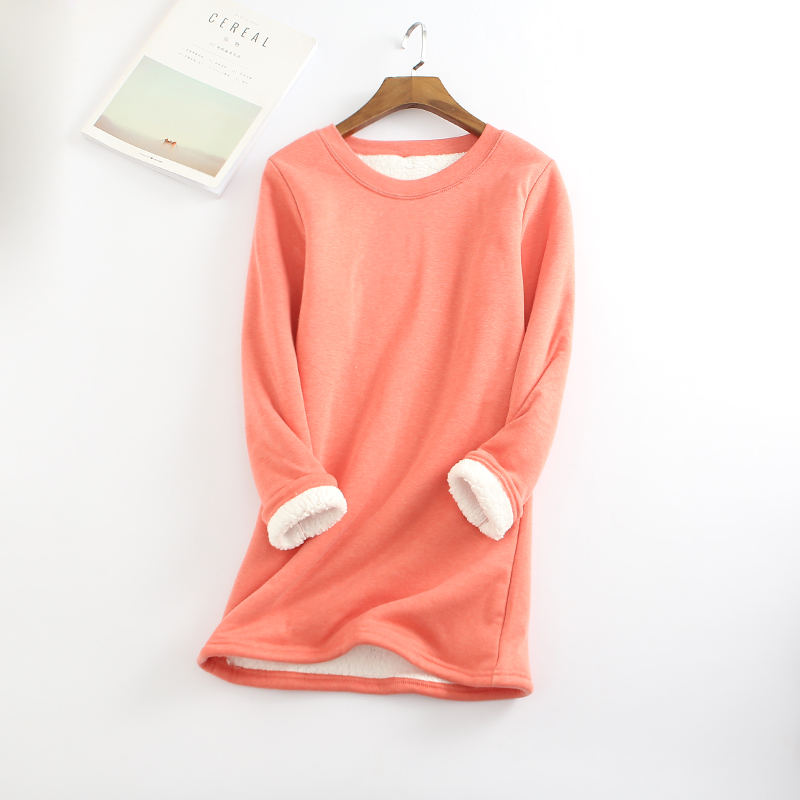 2019 New Autumn Winter Plus Velvet Long Sleeve Shirt Women Warm Thick T Shirt Vintage Streetwear  Slim Ladies Tops