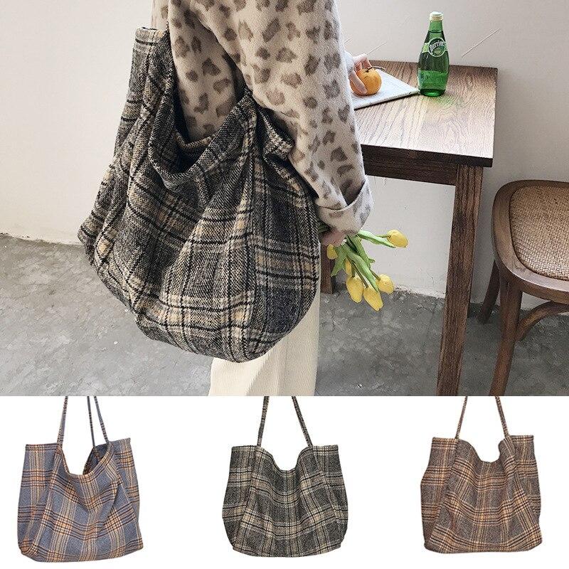 2021 женские шерстяные клетчатые холщовые сумки, женская вместительная сумка-тоут, Женская Повседневная Большая Сумка через плечо