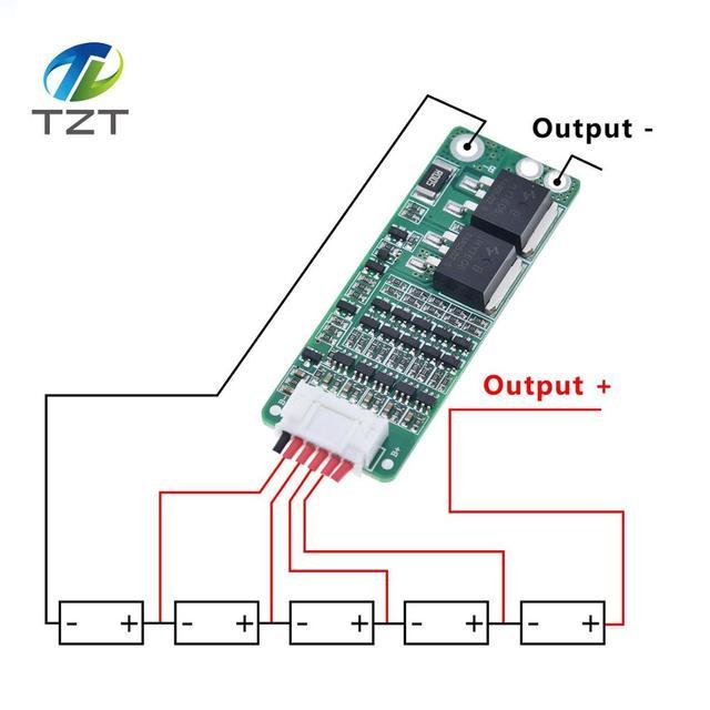 TZT 5S 15A 리튬 이온 리튬 배터리 BMS 18650 충전기 보호 보드 18V 21V 셀 보호 회로