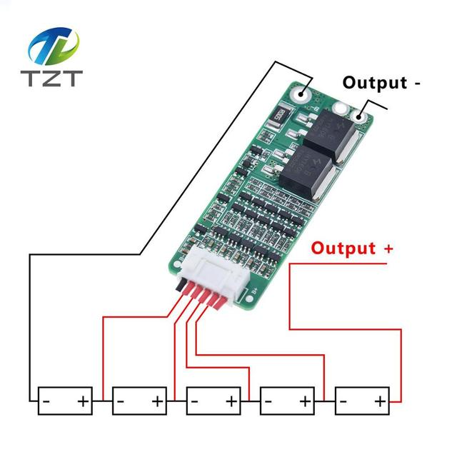 TZT 5S 15A Li ion Lithium Battery BMS 18650 Charger Protection Board 18V 21V Cell Protection Circuit