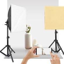 사진 스튜디오 LED 9W Softbox 키트 30x30cm 미니 Softbox 조정 가능한 지원 라이트 스탠드 삼각대 E27 소켓 데스크탑 비디오 촬영