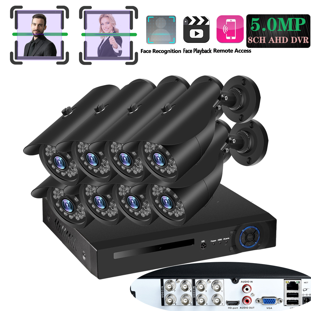 UHD Echt 5MP veriface Record & wiedergabe AHD DVR 8CH CCTV Kit Home Security Surveillance System 36PCS IR LED SONY outdoor HD Kamera