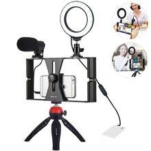 แหวนแสงวงเล็บโทรศัพท์อุปกรณ์เสริม Vlogging LED ผู้ถือโทรศัพท์มือถือขาตั้งกล้องสำหรับไมโครโฟน