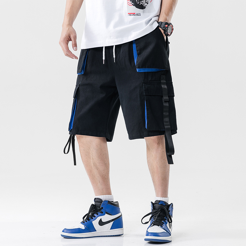 Streetwear Summer Casual Shorts Men Pockets Mens Cargo Shorts Cotton Ribbons Bermuda Knee Length Men's Shorts