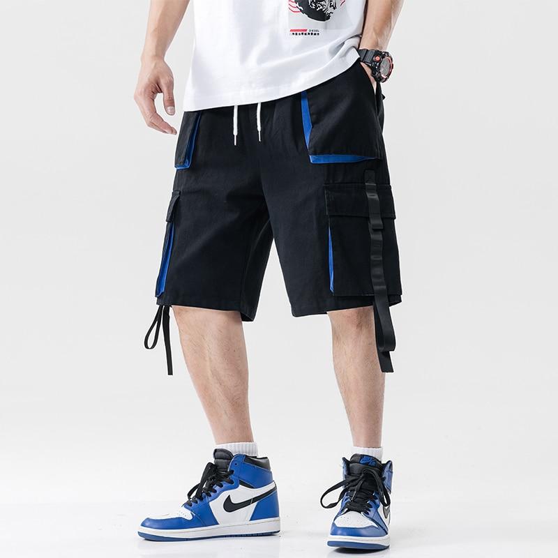 Streetwear Summer Casual Shorts Men Pockets Mens Cargo Shorts Cotton Ribbons Bermuda Knee Length Men's Shorts
