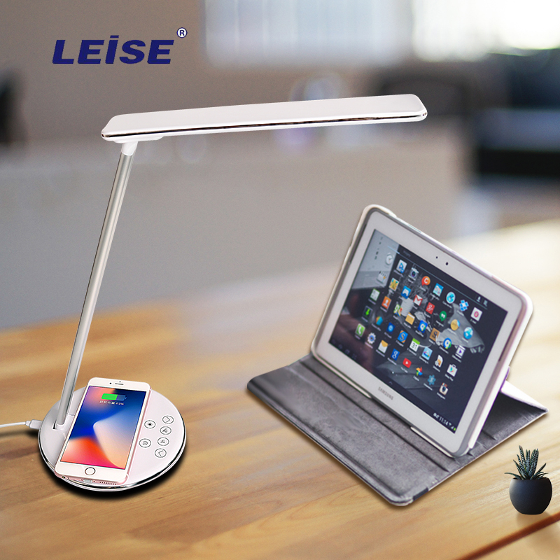 Leise Lamp Qi Wireless Charger for iPhone XS Max X Foldable Table Desktop Desk LED Light Fast Wireless Charging Pad for Samsung