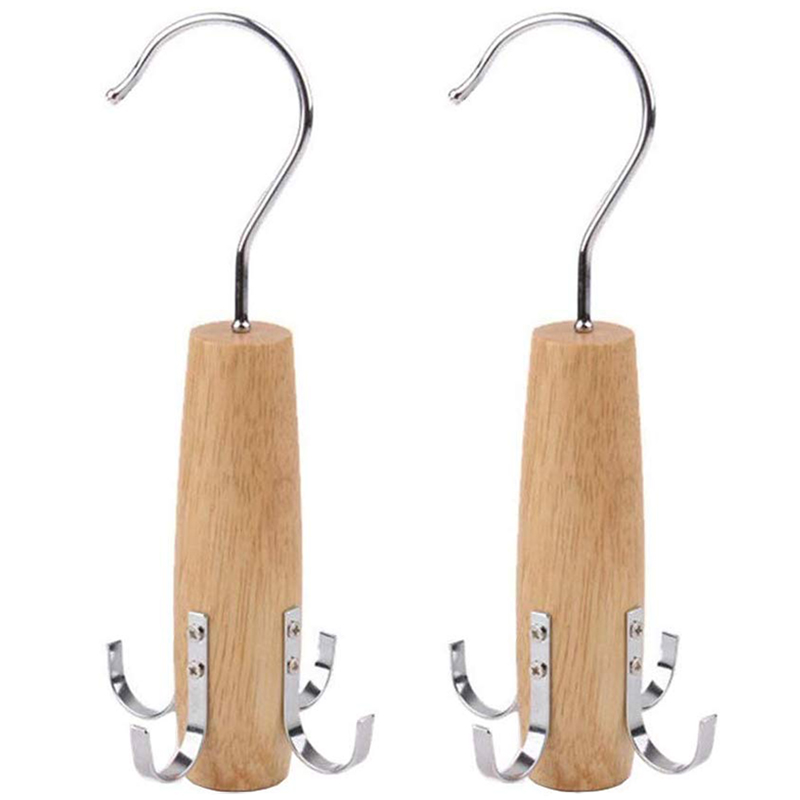 Belt Tie Rack Scarf Hanger for Closet  2 Pack Swivel Hook Easy On/Off Space Saving Organizer Sturdy Wood Holder for Scarves  Bel|Drying Racks| |  - title=
