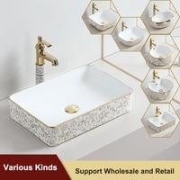 Lavabo de tocador blanco para baño, mezclador de agua de Arte de cerámica para champú, Rectangular, moderno, para el hogar