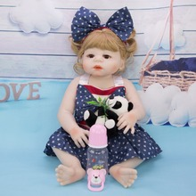 55 cm Silicone reborn doll vinyl bebe menina Doll real blonde Baby children Christmas Gift companion with fashion dress