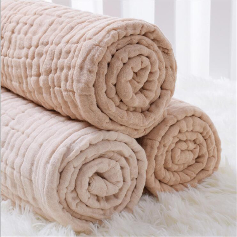 6 Layers Bamboo Cotton Baby Receiving Blanket Infant Kids Swaddle Wrap Blanket Sleeping Warm Quilt Bed Cover Muslin Baby Blanket