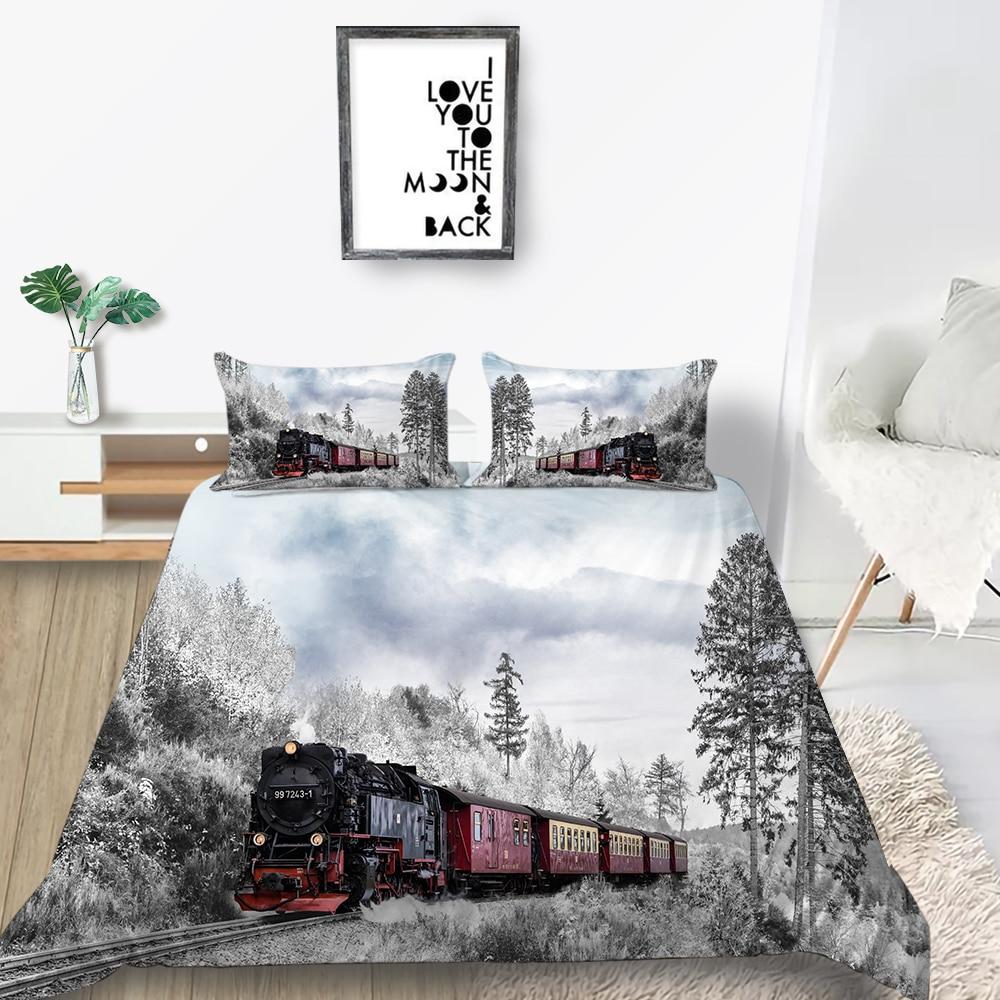 Winter Train Bedding Set King Size Beautiful 3D Creative Duvet Cover Queen Twin Full Single Double Unique Design Bed Set