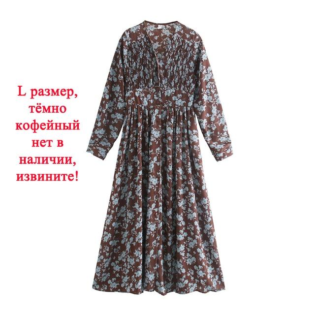 Toppies 2021 spring women dress long sleeve midi dress floral printing single breasted v-neck korean fashion clothings 2