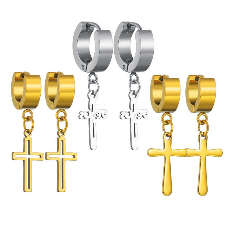 Elegantes pendientes coreanos Cruz colgante joyería para hombres y mujeres estilo Hip Hop elegante oro plata negro pendientes colgantes de Cruz joyería