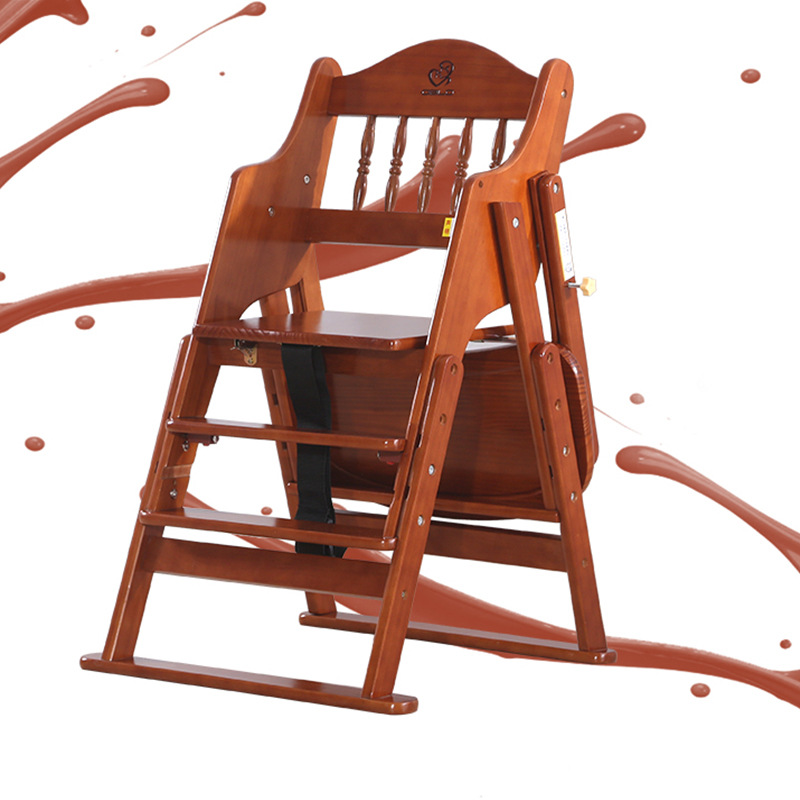 Highchairs Solid Wood  Kid Chairs Foldable Lifting Multifunctional Hotel Baby Dining Chair  Baby Feeding Chair