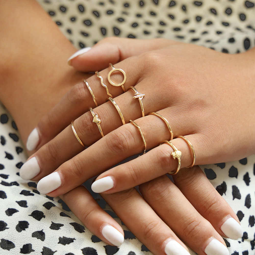 DIEZI 11 ชิ้น/เซ็ต VINTAGE Bohemian Heart สับปะรดรอบ WAVE Knuckle แหวนชุดผู้หญิงแหวนเครื่องประดับ 2019 ใหม่