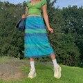 HEYounGirl Floral Print Striped Midi Rock Frauen Y2K Mesh Hohe Taille Kurze Röcke Damen Floral Print Mode Nette Urlaub 90s