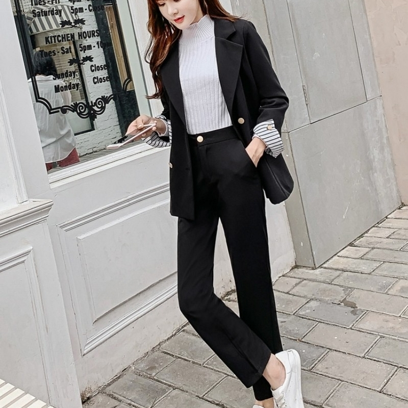 2020 New Elegant Office Lady Casual Suits Autumn Winter Two Piece Set Blazer+Pants Women Slim Thick Business Work Suit Female