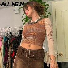ALLNeon Indie estetik Retro desen örgü t-shirt 90s moda ince o-boyun Flare kol kırpılmış Y2K üstleri E-kız vintage Tees