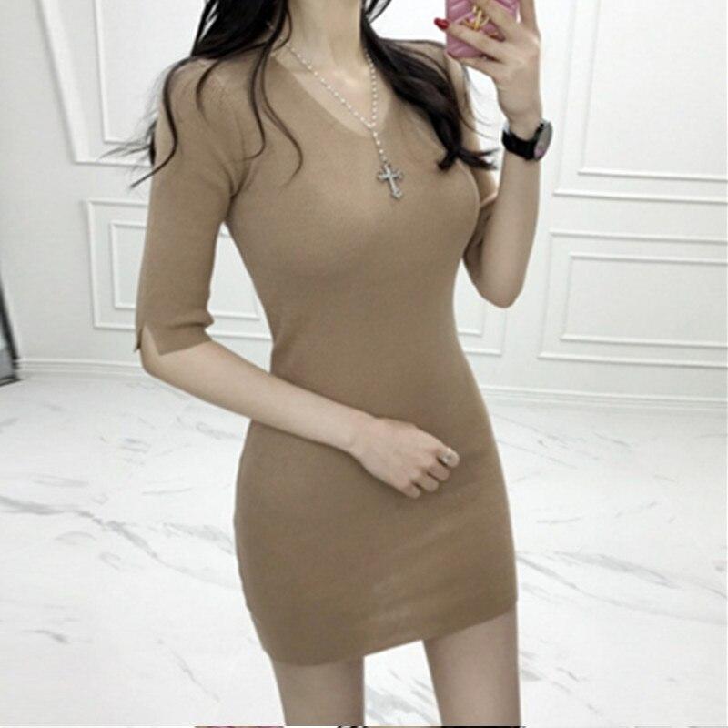 Korean Women Sexy Slim Dresses Womens Fashion V Neck Dresses Vestidoes 2