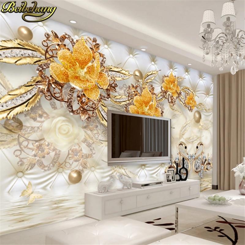 Купить с кэшбэком beibehang Custom Photo Wallpaper 3D Fresco Wall paper Sticker 3d Luxury Gold White Flower Soft Bag Globe Jewelry TV Background