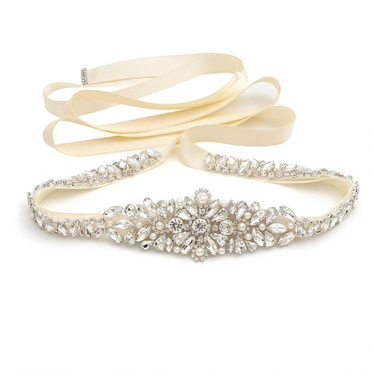 Gorgeous Silver Color Wedding Belt Rhinestone Pearls Bridal Dress Sash Women Waistband Accessories