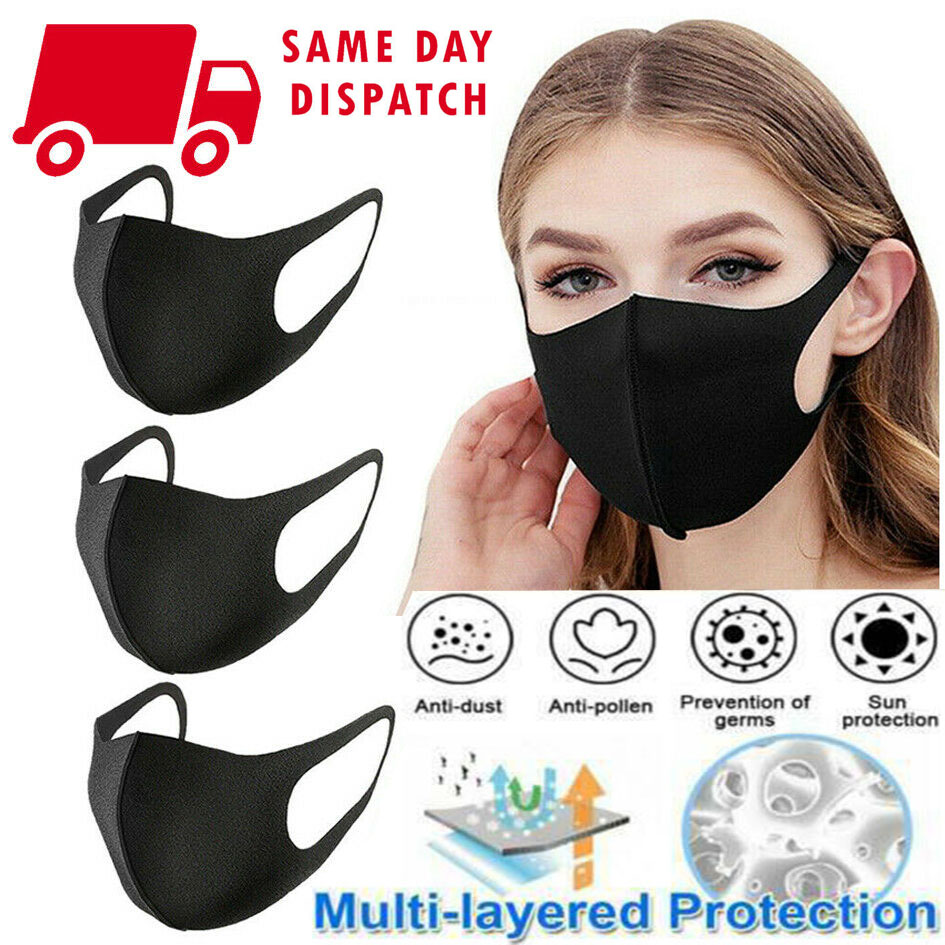 3pcs Unisex PM2.5 Mouth Mask Anti Haze Dust Mask Nose Filter Windproof Face Muffle Bacteria Flu Fabric Cloth Respirator Health
